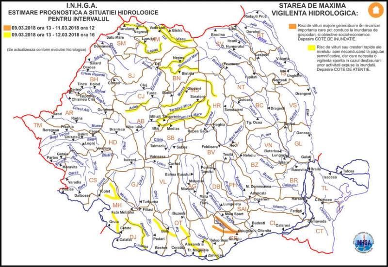 Anunţ de ULTIMĂ ORĂ de la meteorologi! Cod galben de inundaţii în 12  județe! Lista cu râurile problemă! România, sub ape!
