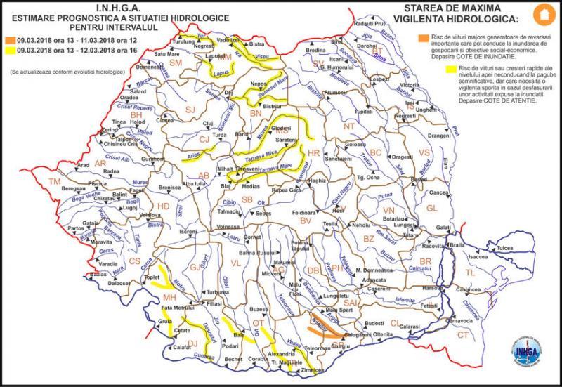 România, sub ape! Avertizări COD GALBEN şi PORTOCALIU de inundaţii până săptămâna viitoare