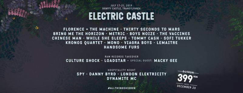 Peste 20 de trupe celebre urcă pe scena de la Electric Castle în 2019