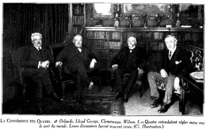 """Cei patru """"grei"""" ai Conferinței de Pace de la Paris - Orlando, Lloyd George, Clemenceau, Wilson. Sursa foto:87dit.canalblog.com"""