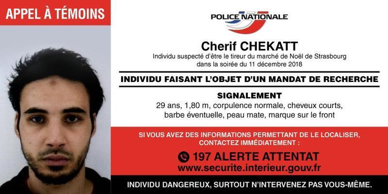 """Chipul atacatorului de la Strasbourg! Poliția a făcut public un portret al suspectului: """"Persoană periculoasă, nu interveniți!"""""""