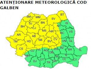 Informare meteorologică de vreme rea. HARTA cu ultimele avertizări ale meteorologilor