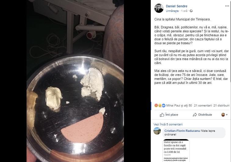 """Descoperire șocantă la spitalul Municipal din Timișoara! Ce primesc pacienții la masă! """"Nu ai da nici la câini"""""""