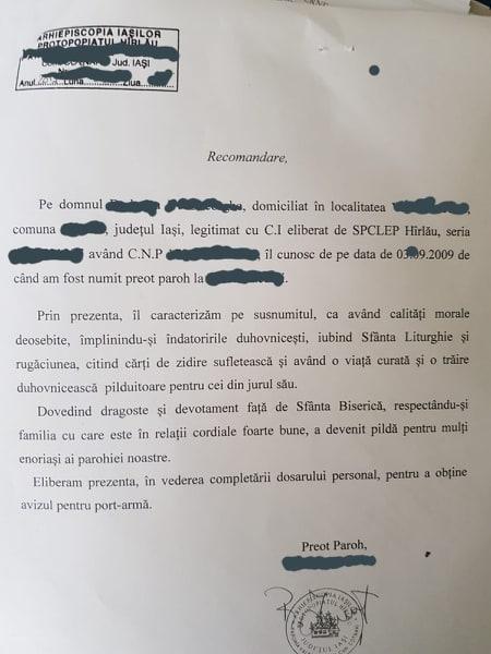 """Recomandare pentru permis port armă din partea unui preot din Iași!  """"Sus numitul are calități morale deosebite, împlinindu-și îndatoririle duhovnicești, iubind Sfânta Liturghie și rugăciunea"""""""