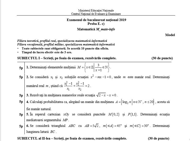 Simulare Clasa A 8 A 2019 Matematica: Subiecte Simulare Bac 2019 Matematică. Ce Pică La Clasa A