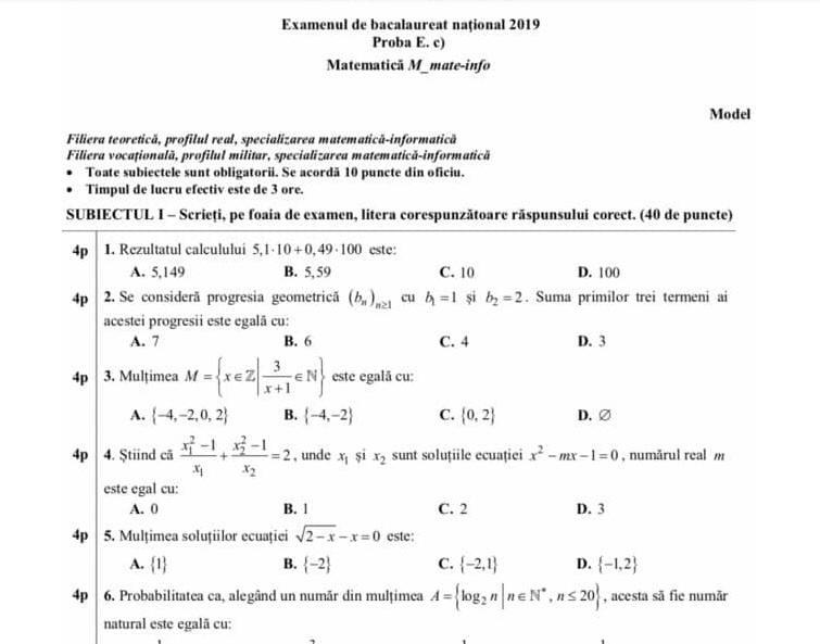 Simulare Image: UPDATE: Subiecte Simulare Bac 2019 Matematică, Clasa A-XI