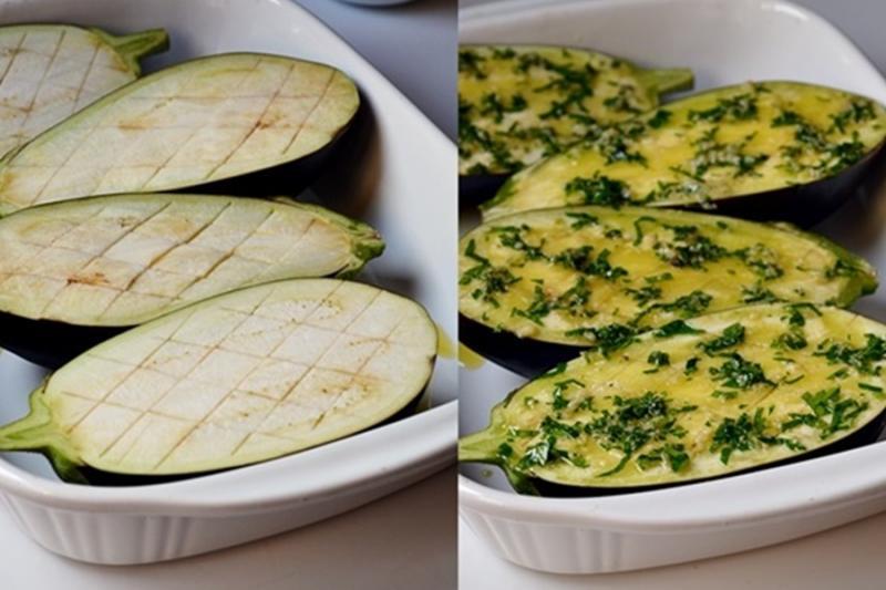 Cea mai simplă, dar și gustoasă rețetă cu vinete! Vinete cu usturoi și verdeață, la cuptor.