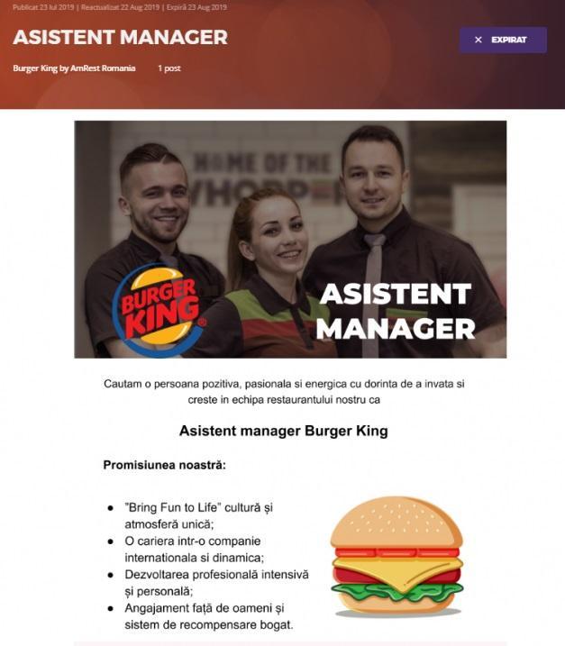 Un celebru lanț de restaurante tip fast-food revine în România. Compania a început deja angajările