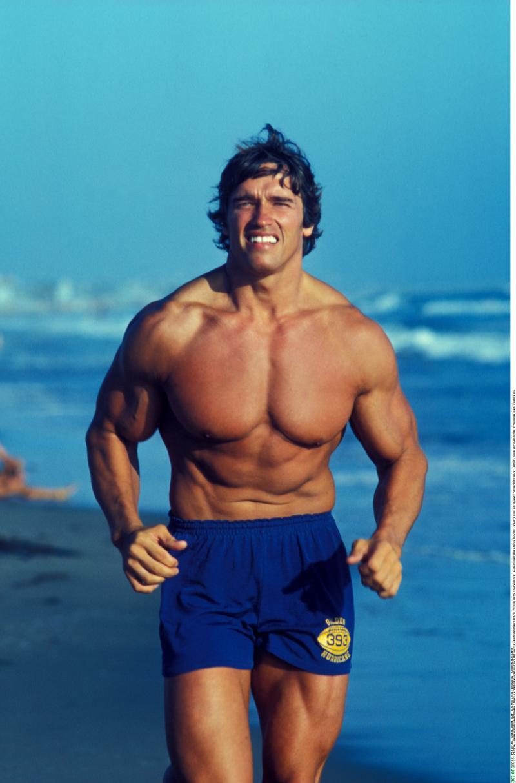 Arnold Schwarzenegger, pe plajă, la bustul gol
