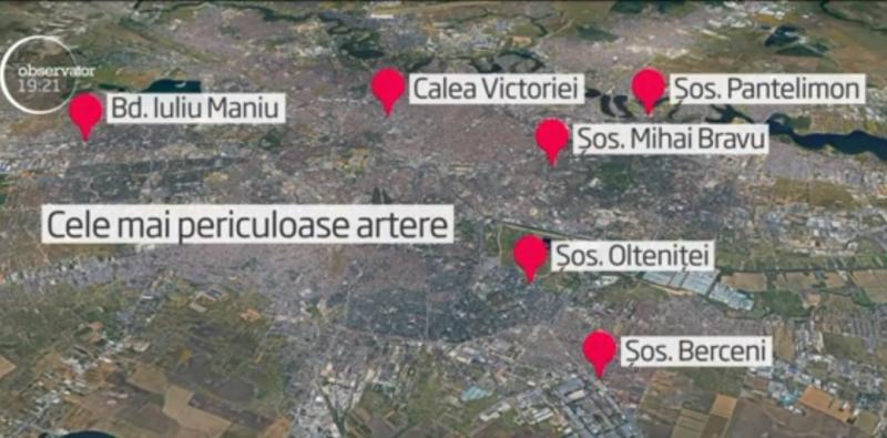 Harta celor mai periculoase șosele din Capitală! Acestea sunt arterele rutiere pe care se produc cele mai multe accidente - FOTO, VIDEO