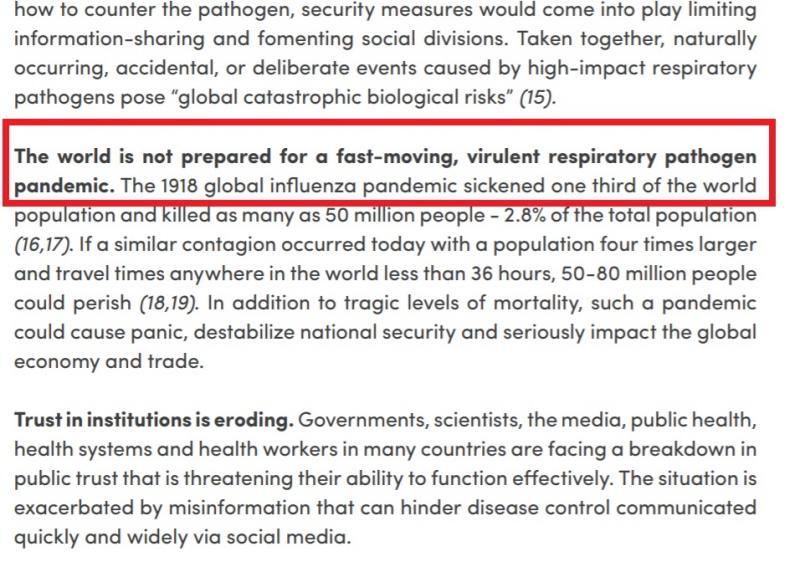 """Avem documentul din septembrie 2019! """"Omenirea trebuie să se pregătească pentru o gripă de mare impact! Boală infecțioasă!"""""""