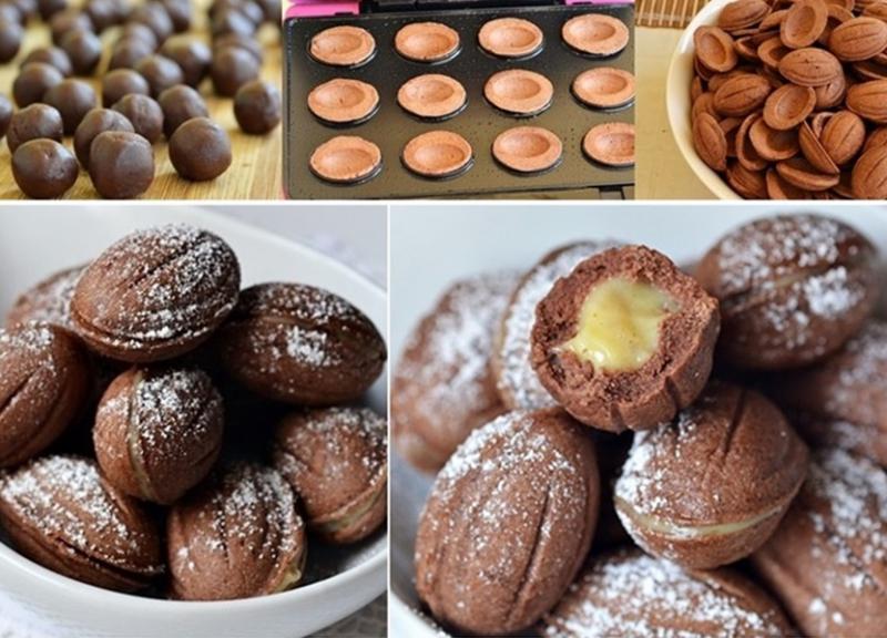Nuci cu cacao în aluat și cremă de vanilie cu nuci. Desertul copilăriei într-o variantă deosebită