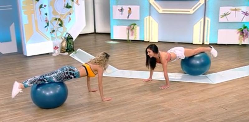 """Imagini interzise cardiacilor! Ramona, mișcări sexy la antrenamentul Dianei Stejereanu, la Neatza: """"Nu iau poziția de cobră"""""""