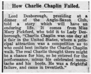 Charlie Chaplin a participat la un concurs de imitat...Charlie Chaplin. A ieșit pe locul 20!