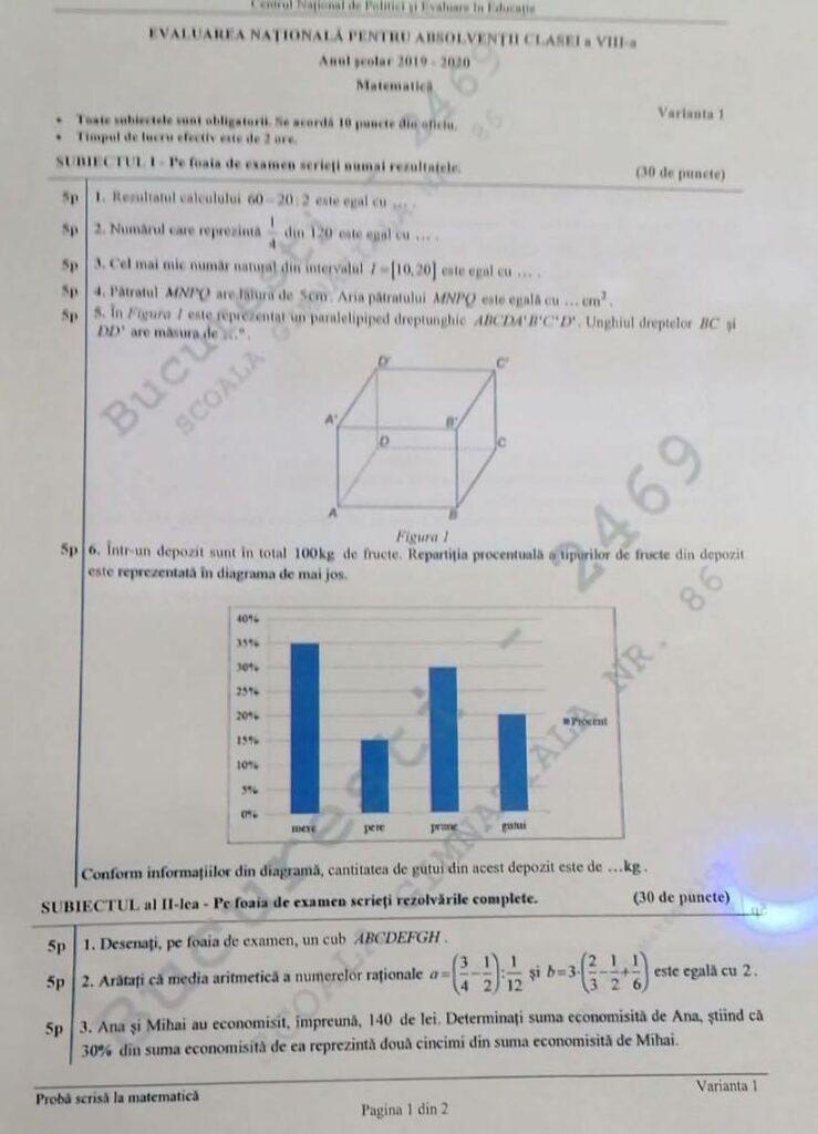 Subiecte Evaluare Națională 2020. Ce au avut de rezolvat elevii la Matematică: Nota de trecere, obținută foarte ușor
