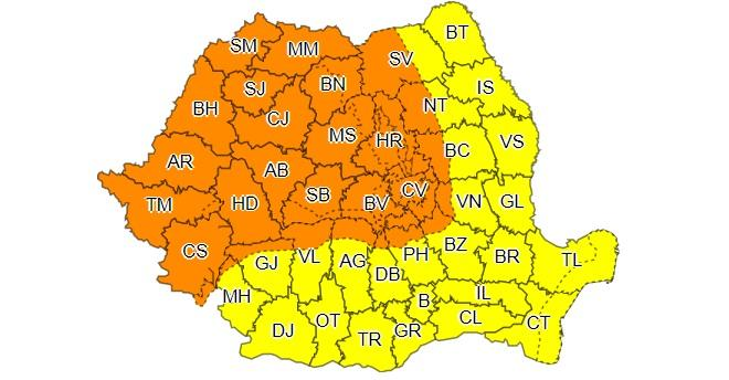 Alertă meteo! Potop, în România! Cod portocaliu și Cod galben prelungit! Unde va ploua torențial, în următoarele ore. Când scăpăm de ploi