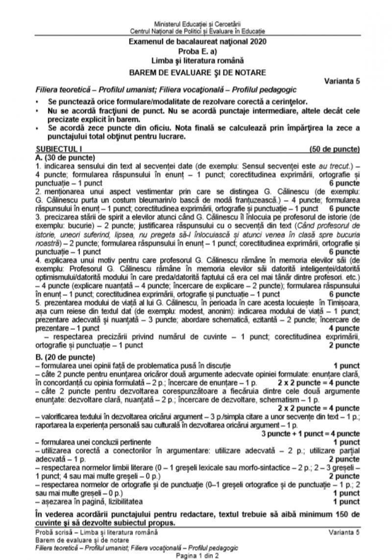 Bacalaureat 2020. Baremul la Limba română a fost publicat! Cum se rezolvă subiectele la Real și Uman, pentru nota 10!