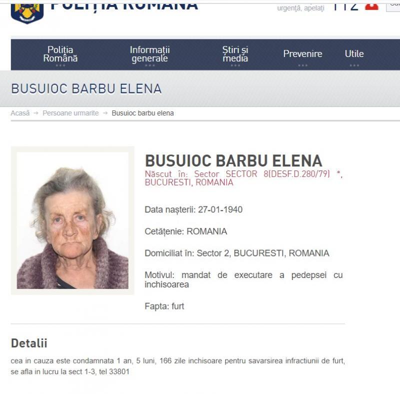 Cea mai bătrână infractoare din România are 80 de ani și e dată în urmărire generală! Ce fapte a comis