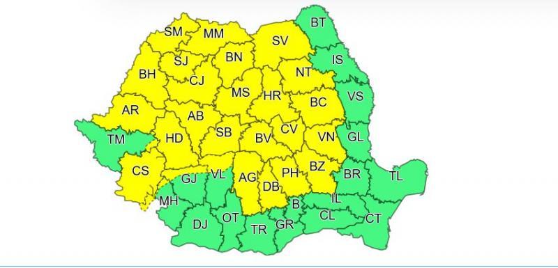 Alertă ANM, a fost emis cod galben! Ploi torențiale și vijelii în aproape toată țara. Vreme instabilă și la început de august