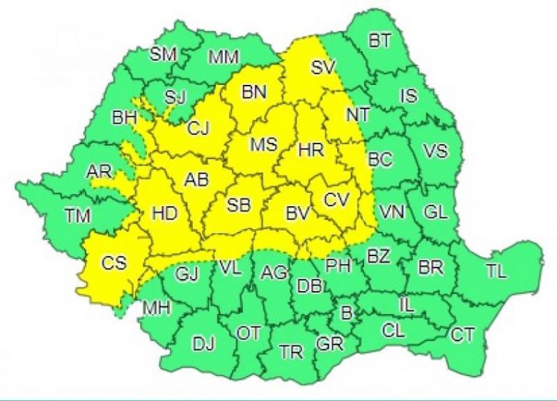 Cod galben de ploi torențiale și vijelii, în România! În ce județe va fi potop, în următoarele ore