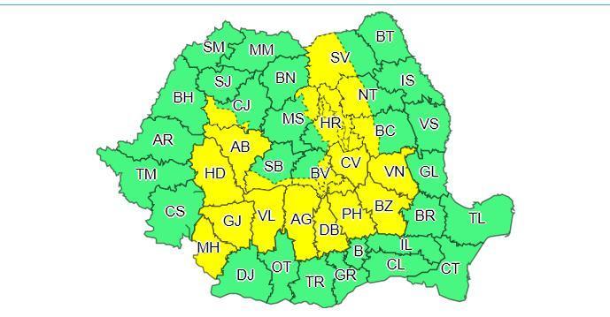 Alertă meteo! Cod galben de ploi şi vijelii! 19 judeţe afectate, în următoarele ore
