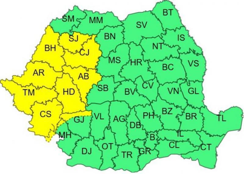 Alertă de la ANM! Cod galben de ploi torențiale și furtuni, în România! Ce zone vor fi afectate, în următoarele ore
