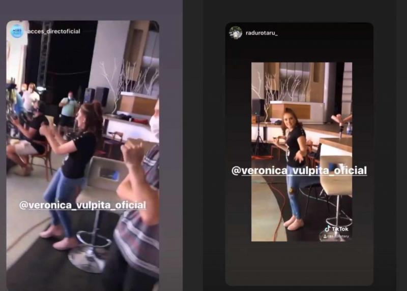 """Ce a făcut Vulpița Veronica în culise, în timp ce Mirela Vaida prezenta """"Acces Direct""""! Imaginile sunt deja pe internet"""
