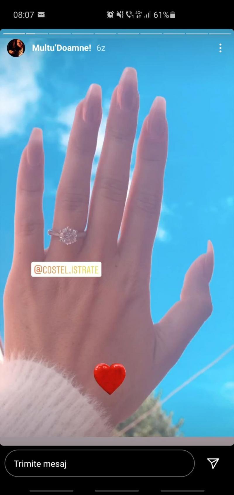 Costi și Alexandra de la Mireasa se pregătesc de nuntă? Tânărul i-a pus o bijuterie pe deget. Cum arată inelul de logodnă