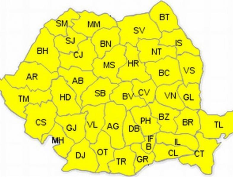 Avertizare cod galben de vânt în România