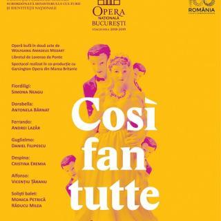 """""""Così fan tutte"""" de Mozart, pe scena Operei Naționale București"""