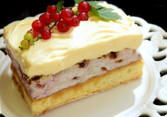Prăjitură cu cremă de lămâie și coacăze roșii. Un desert de vară dulce-acrișor.