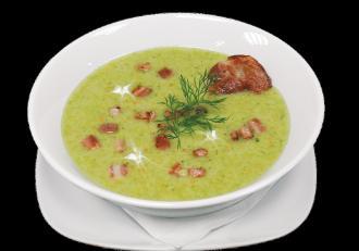 Supă cremă de broccoli cu jumări din bacon afumat. Rețetă simplă și sănătoasă, gata în 20 de minute
